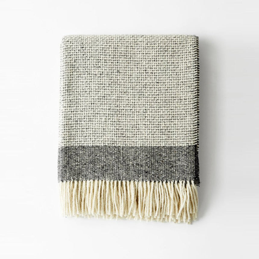 Mended Tweed Blanket - Charcoal Grey w/Band