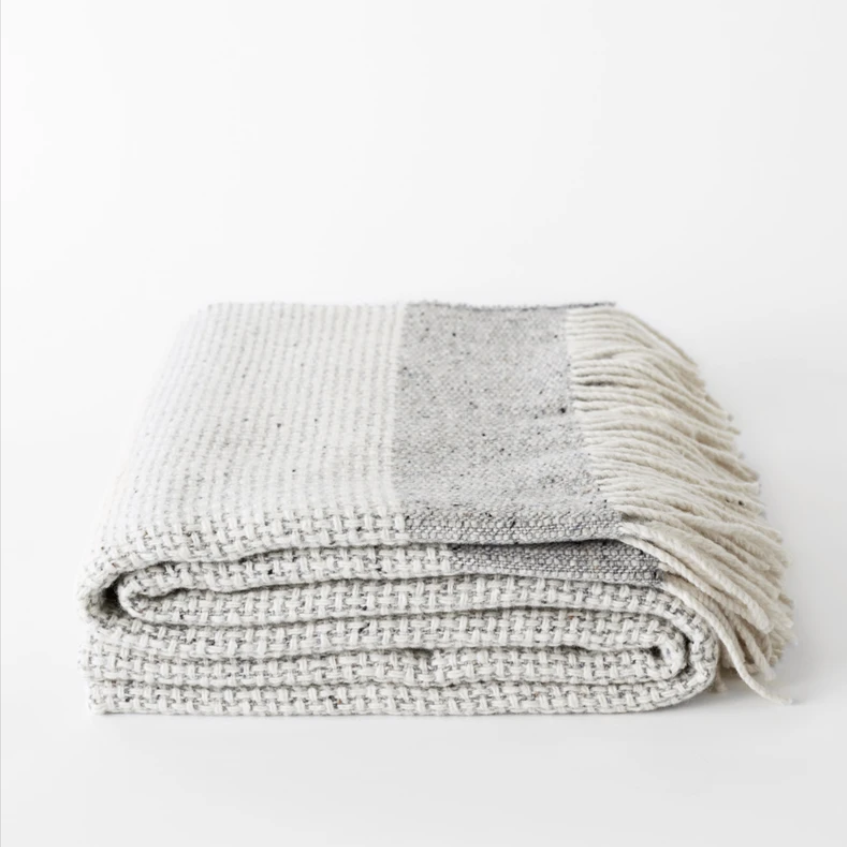 Mended Tweed Blanket - Silver Grey w/Band