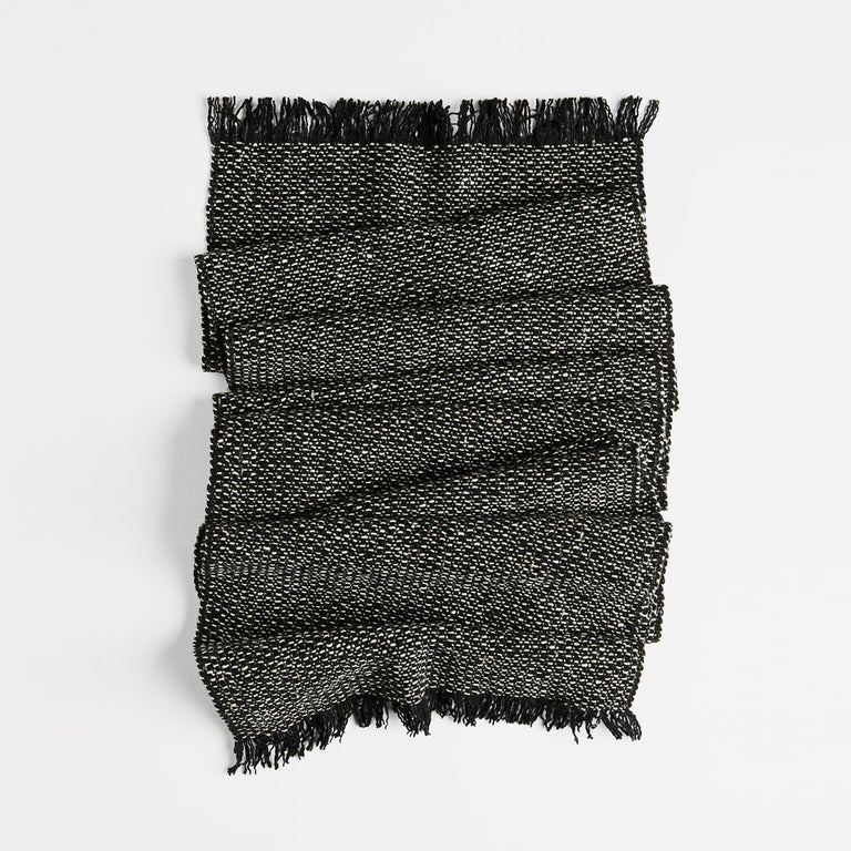 Tweed Scarf, Narrow - Black & White