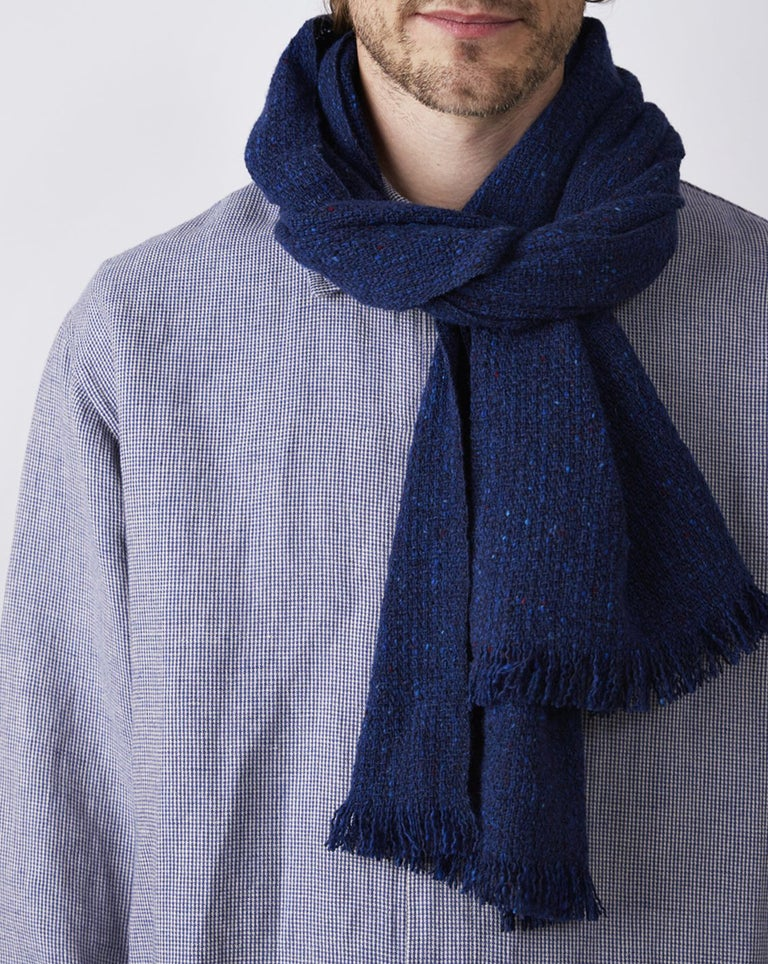 Tweed Scarf, Narrow - Indigo