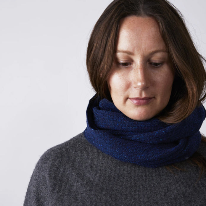 Tweed Neck Warmer - Indigo