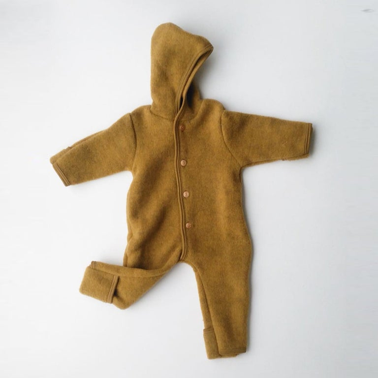 Merino Wool Fleece Overall - Saffron