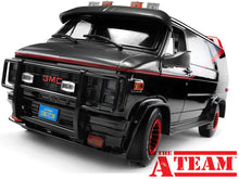 "Load image into Gallery viewer, ""A-TEAM"" 1983 GMC Vandura Cargo Van 1:18 Scale - Greenlight Diecast Model Car"