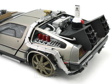"Load image into Gallery viewer, Delorean ""Back To The Future Pt3 - RailRoad Version"" 1:18 Scale - SunStar Diecast Model Car"