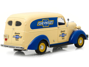 """Genuine Chevrolet Parts"" 1939 Chevy Panel Truck 1:24 Scale - Greenlight Diecast Model Car (Creme/Blue)"