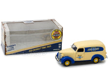 "Load image into Gallery viewer, ""Genuine Chevrolet Parts"" 1939 Chevy Panel Truck 1:24 Scale - Greenlight Diecast Model Car (Creme/Blue)"