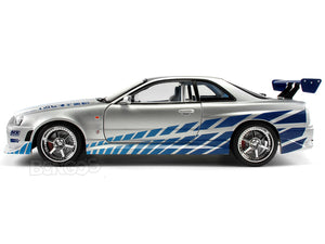 """Fast & Furious"" Brian's Nissan Skyline GT-R (R34) w/ Lights 1:18 Scale - Greenlight Diecast Model (Silver/Blue)"
