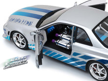 "Load image into Gallery viewer, ""Fast & Furious"" Brian's Nissan Skyline GT-R (R34) w/ Lights 1:18 Scale - Greenlight Diecast Model (Silver/Blue)"