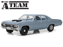 "Load image into Gallery viewer, ""A-Team"" 1967 Chevy Impala Sedan 1:18 Scale - Greenlight Diecast Model Car (Blue)"