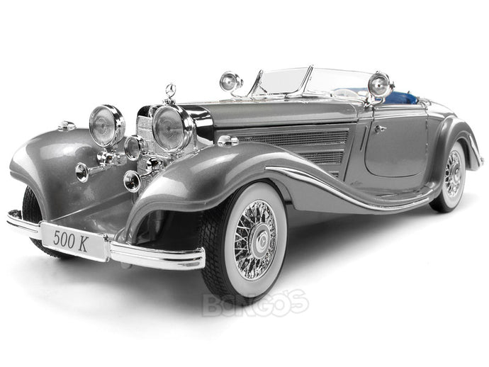 1936 Mercedes-Benz 500K Roadster 1:18 Scale - Maisto Diecast Model Car (Grey)