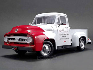 """SO-CAL"" 1953 Ford F-100 Pickup 1:18 Scale - ACME Diecast Model Car (Red/White)"