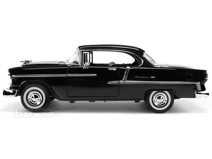 1955 Chevy Bel Air 1:18 Scale - MotorMax Diecast Model Car (Black)