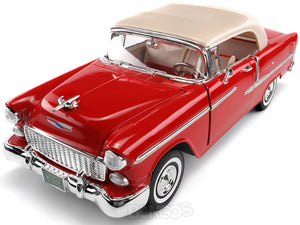 1955 Chevy Bel Air 1:18 Scale - MotorMax Diecast Model Car (Red)