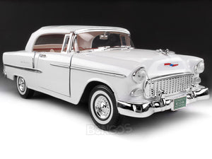 1955 Chevy Bel Air 1:18 Scale - MotorMax Diecast Model Car (White)