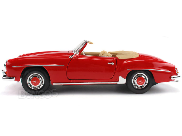 1955 Mercedes-Benz 190 SL Cabriolet 1:18 Scale - Maisto Diecast Model Car (Red)
