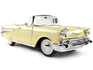 1957 Chevy (Chevrolet) Bel Air Convertible 1:18 Scale- Yatming Diecast Model (Cream)