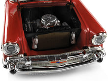 Load image into Gallery viewer, 1957 Chevy (Chevrolet) Bel Air Convertible 1:18 Scale- Yatming Diecast Model Car (Red)