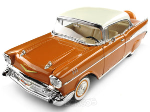 1957 Chevy (Chevrolet) Bel Air Coupe 1:18 Scale- Yatming Diecast Model Car (Copper)