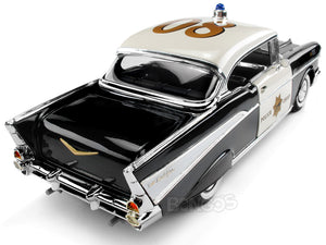 "1957 Chevy (Chevrolet) Bel Air Coupe ""CHiPs Police Chief"" 1:18 Scale- Yatming Diecast Model (B/W)"