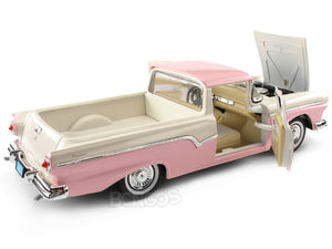 1957 Ford Ranchero 1:18 SCALE - Yatming Diecast Model Car (Creram/Pink)