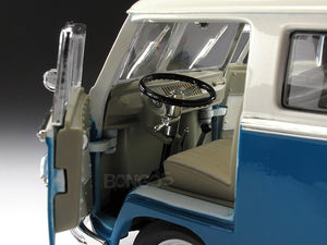 "1962 VW Microbus ""Kombi"" 1:18 Scale - Yatming Diecast Model Car (Blue)"
