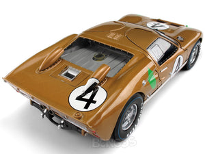 1966 Ford GT-40 (GT40) Mk II #4 Le Mans Hawkins/Donohue 1:18 Scale - Shelby Collectables Diecast Model Car (Gold)