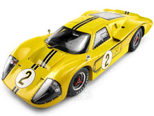 "Load image into Gallery viewer, 1967 Ford GT-40 (GT40) Mk IV #2 ""Le Mans - McLaren/ Donohue"" 1:18 Scale - Shelby Collectables Diecast Model Car (Yellow)"
