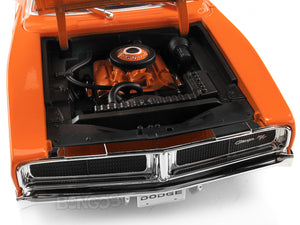 1969 Dodge Charger R/T 1:18 Scale - Maisto Diecast Model Car (Orange)