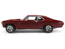 "Load image into Gallery viewer, 1969 Chevy Nova ""Baldwin Motion"" SS427 1:18 Scale - AutoWorld Diecast Model Car (Red)"
