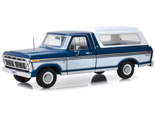 Load image into Gallery viewer, 1975 Ford F-100 Ranger w/ Canopy Pickup 1:18 Scale - Greenlight Diecast Model Car (Blue)