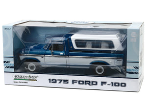 1975 Ford F-100 Ranger w/ Canopy Pickup 1:18 Scale - Greenlight Diecast Model Car (Blue)