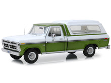 Load image into Gallery viewer, 1976 Ford F-100 Ranger w/ Canopy Pickup 1:18 Scale - Greenlight Diecast Model Car (Green)