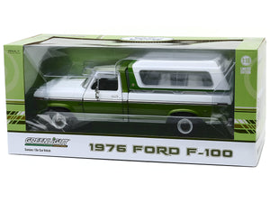 1976 Ford F-100 Ranger w/ Canopy Pickup 1:18 Scale - Greenlight Diecast Model Car (Green)