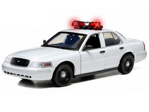 "Ford Crown Victoria Police Interceptor ""Light & Sound"" (Blank) 1:18 Scale - Greenlight Diecast Model Car (White)"