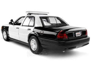 2001 Ford Crown Victoria Police Interceptor (Blank) 1:18 Scale - MotorMax Diecast Model Car (B/W)