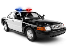 "Load image into Gallery viewer, 2001 Ford Crown Victoria Police Interceptor ""Light & Sound"" (Blank) 1:18 Scale - MotorMax Diecast Model Car (B/W)"
