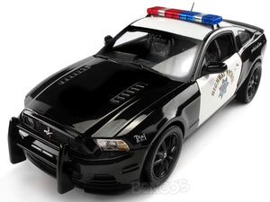 "2013 Ford Mustang Boss 302 ""Highway Patrol"" 1:18 Scale - Shelby Collectables Diecast Model Car (B/W)"