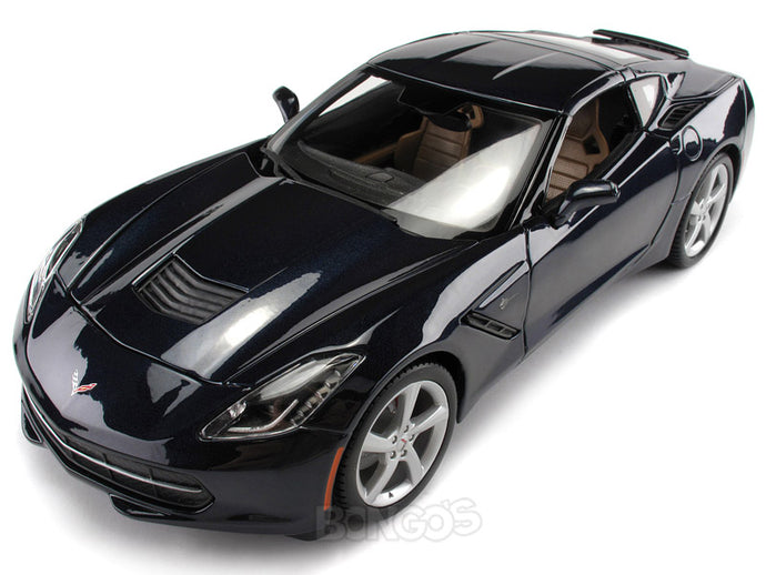 2014 Chevy Corvette (C7) Stingray 1:18 Scale - Maisto Diecast Model Car (Dark Blue)