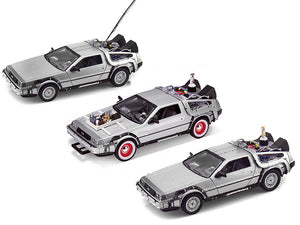 """Back To The Future"" Set of 3 DMC Delorean Time Machines 1:24 Scale - Welly Diecast Model"