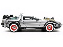 "Load image into Gallery viewer, ""Back To The Future"" Set of 3 DMC Delorean Time Machines 1:24 Scale - Welly Diecast Model"