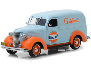 """Gulf Oil"" 1939 Chevy Panel Truck 1:24 Scale - Greenlight Diecast Model Car (Light Blue)"