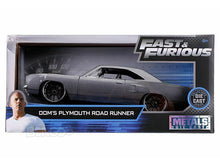 "Load image into Gallery viewer, ""Fast & Furious"" Dom's Plymouth Road Runner 1:24 Scale - Jada Diecast Model Car (Grey)"