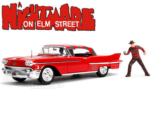 """A Nightmare On Elm Street"" - 1958 Cadillac Series 62 w/ Freddy Figure 1:24 Scale - Jada Diecast Model Car"