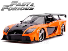 "Load image into Gallery viewer, ""Fast & Furious"" Han's Mazda RX-7 1:24 Scale - Jada Diecast Model Car (Orange)"