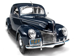 1939 Ford Deluxe Coupe 1:18 Scale - Maisto Diecast Model Car (Blue)
