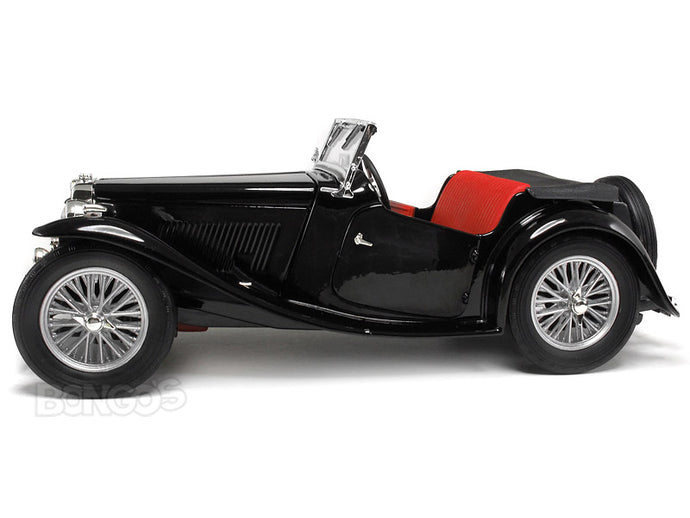 1947 MG TC Midget 1:18 Scale - Yatming Diecast Model Car (Black)
