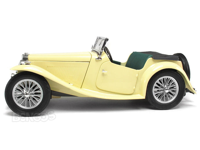 1947 MG TC Midget 1:18 Scale - Yatming Diecast Model Car (Cream)