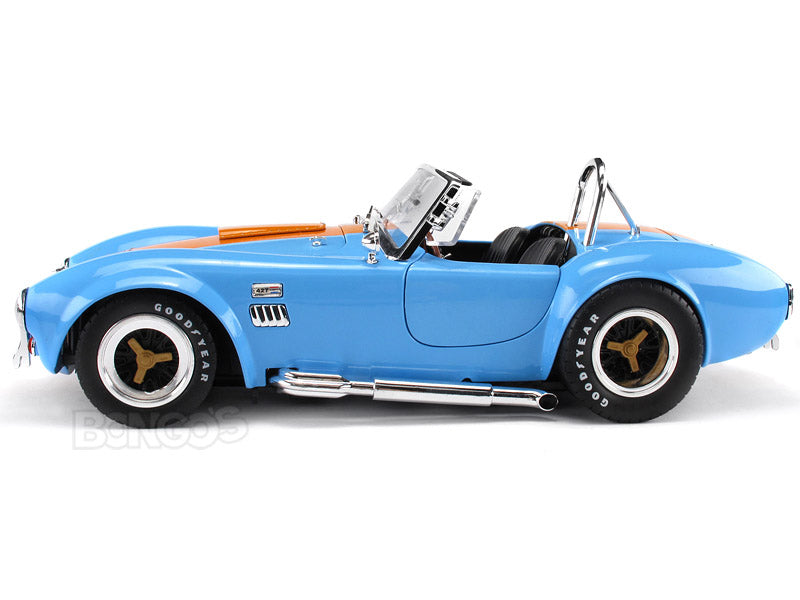 1965 Shelby Cobra 427 S/C 1:18 Scale - Shelby Collectables Diecast Model Car (Blue/Org)