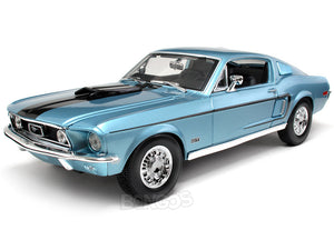 "1968 Ford Mustang GT 428 ""Cobra Jet""1:18 Scale - Maisto Diecast Model Car (Blue)"