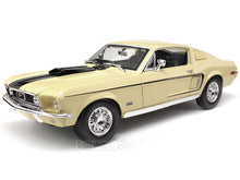"Load image into Gallery viewer, 1968 Ford Mustang GT 428 ""Cobra Jet"" 1:18 Scale - Maisto Diecast Model Car (Cream)"